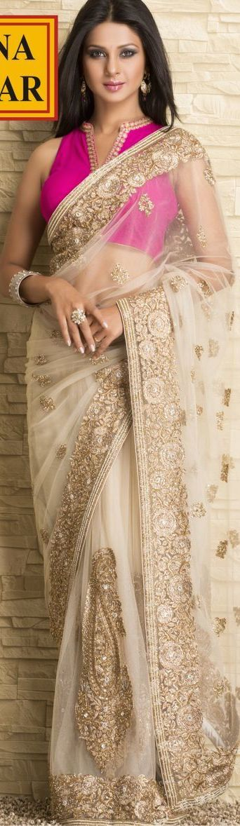 Meena Bazaar | Saraswatichandra Zari Embroidery Saree on Net Fabric. original pin by @webjournal