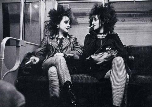 Punk girls on the Tube, 1980s