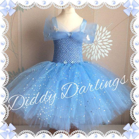 Cinderella Tutu Dress. Sparkly Cinderella 2015 Inspired Handmade.All Sizes Fully Customised 2015 Cinderella Dress New Cinderella Butterflies
