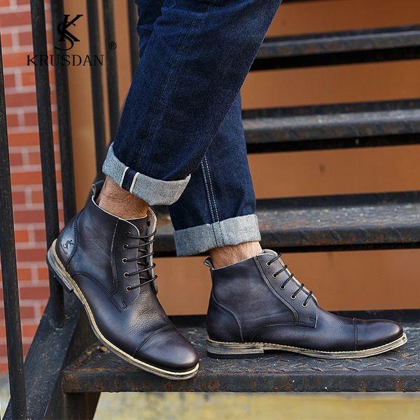 Осенние и зимние высокие обувь повседневная обувь ручной пользовательские кожи мужская мода оригинальный комплекс Гума Дин сапоги мужские короткие сапоги