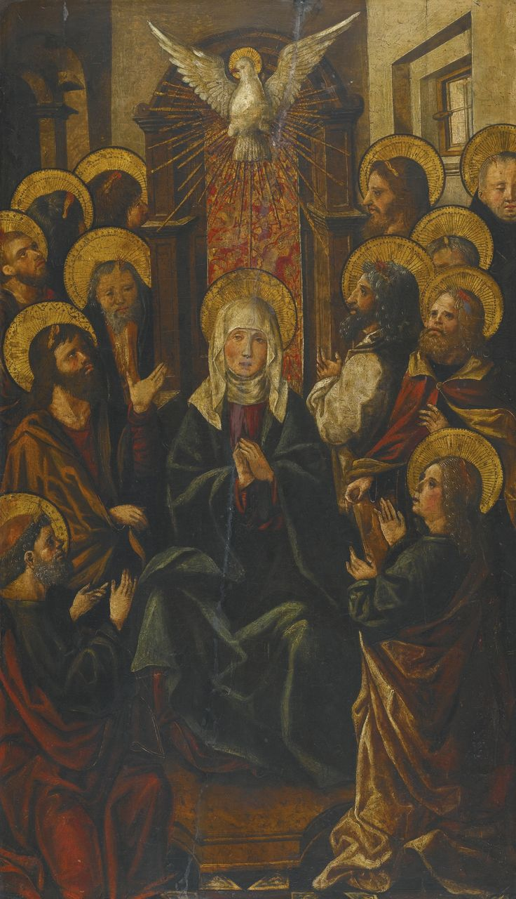 Valencian School, early 16th century PENTECOST oil on panel 89.5 by 52.7 cm.; 35 1/4  by 20 3/4  in.: