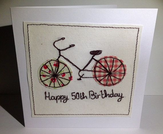 Bicycle Birthday Card  Machine Embroidered Bike for by Nikelcards