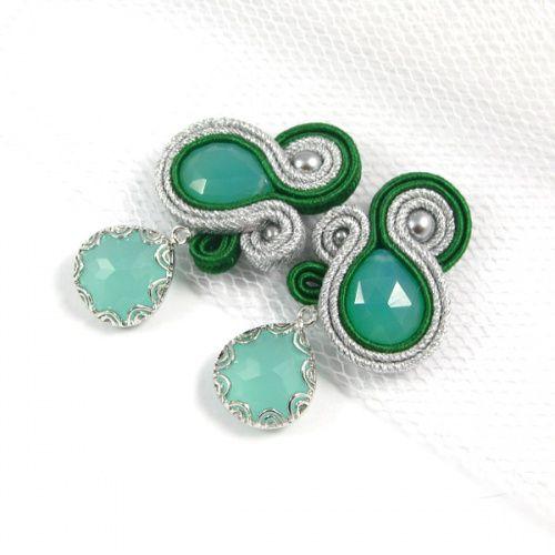 Minty <3  www.pillowdesign.pl  #mint #pistacchio #green #silver #earrings #feminin #gift #handmade #giftideas #soutache