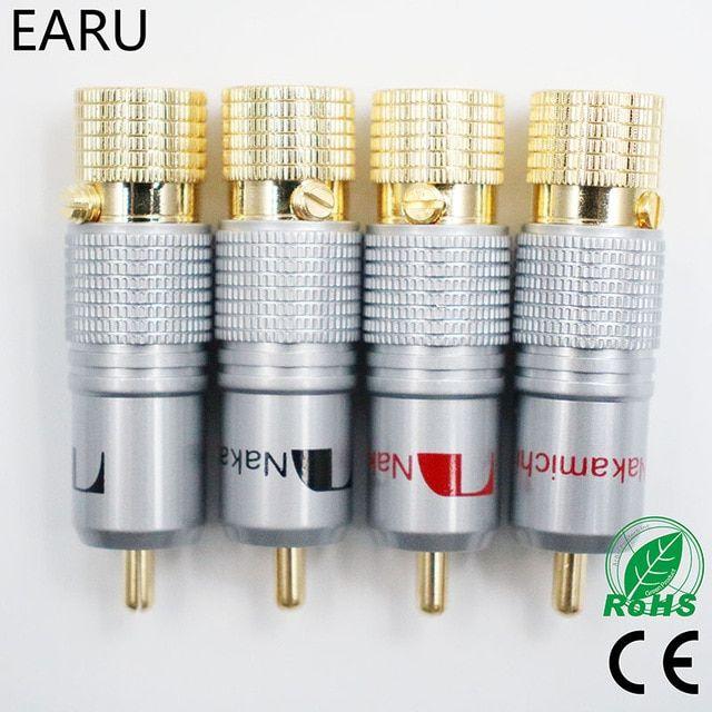 4Pcs Nakamichi Copper Gold Plated RCA Connector Plug audio hifi