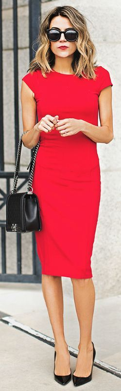 Red pencil dress + Christine Andrew + glamorous trend + Nordstrom number + simple black heels + matching mini bag   Dress: Nordstrom, Heels: Christian Louboutin.