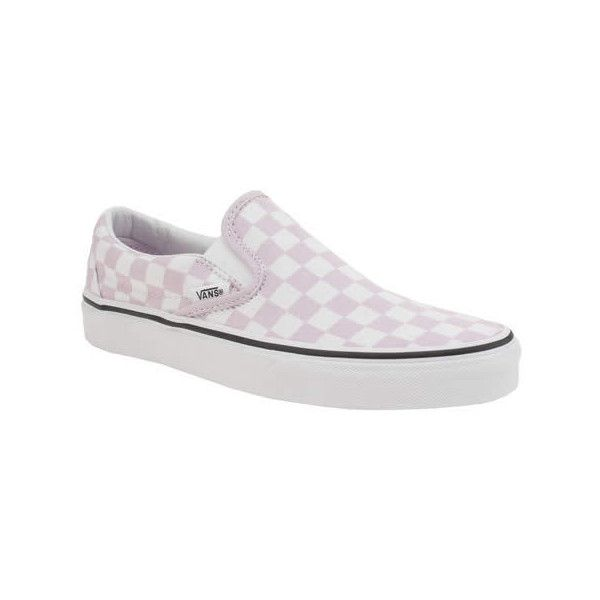 Vans White & Pink Classic Slip Checkerboard Trainers (€66) ❤ liked on Polyvore featuring shoes, sneakers, pull on sneakers, white slip on shoes, white slip on sneakers, leopard print slip-on shoes and checkered sneakers