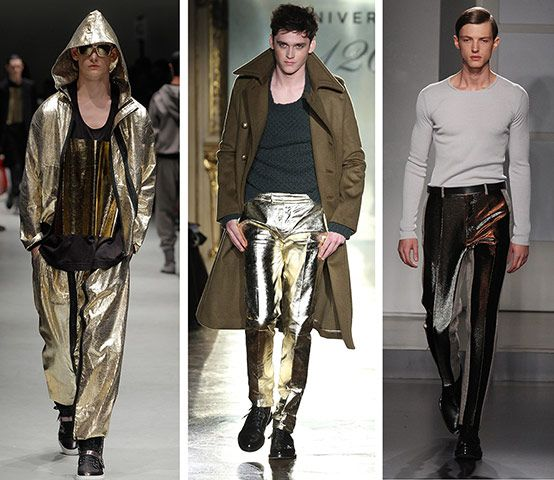 Star man  Unlikely trend prize goes to metallic trousers, seen (left-right) at Vivienne Westwood, Daks and Jil Sander, the latter being the most wardrobe-friendly, coming in a matt silver that shimmered as subtly as shiny pants can