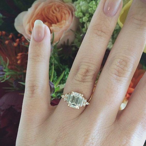 Custom Art Deco Inspired Anna Sheffield Emerald Cut Engagement Ring
