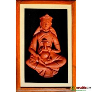 Teracotta Durga with little Ganesha - Spiritual - Rs 450 - Hand Made Crafts - Buy & Sell Indian Handmade Crafts and Handmade Jewelry and Gifts