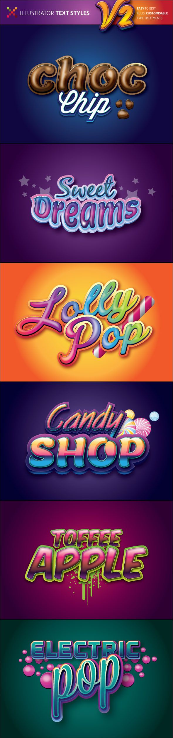 Sweet Illustrator Graphic Styles V2 (AI Illustrator, CMYK, CS6, 3d, candy, cartoon, confectionary, fun, illustrator, illustrator graphic styles, label, logo, lollies, styles, sugar, sweets, text style, title, type treatment, typography, vector)