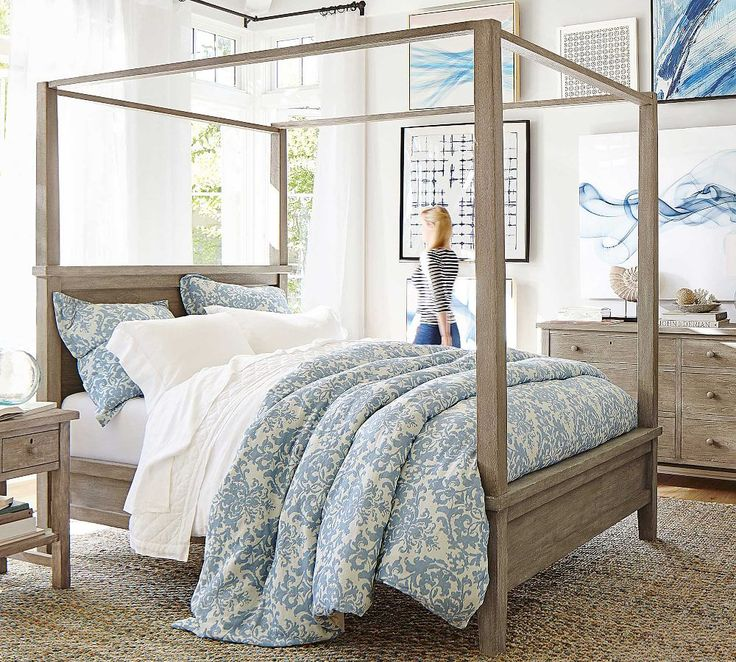 Farmhouse Canopy Bed & Dresser Set Pottery Barn (With