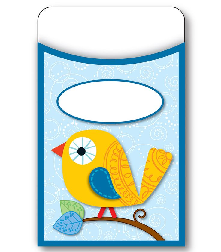 Boho Birds Library Pockets CD 121009 Classroom Decor AILtyler