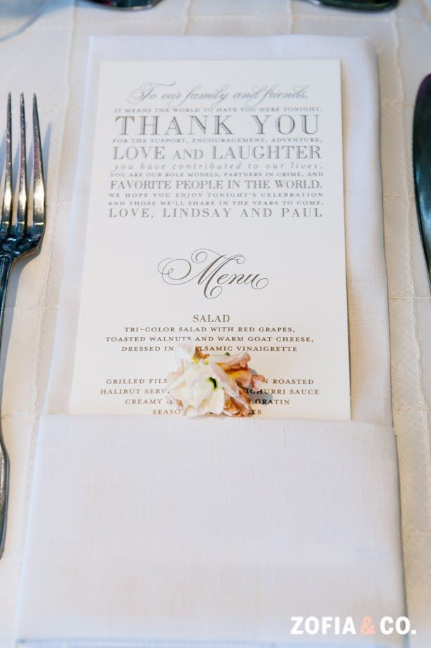 Pocket fold napkin to hold menu cards.