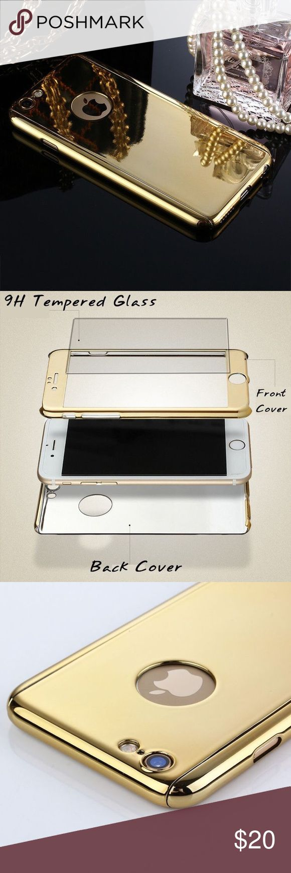 🆕the mirror plated 360° phone case • style name: the mirror plated 360° phone case • color: gold • material: alloy & plated metal/9h tempered glass • high shine mirror case w/ front & back pieces • also includes tempered glass protection for screen & camera • currently stocking for iphone 6/6s - comment to request for a different phone • condition: brand new boutique item ____________________________________________________ ✅ make an offer!     ✅ i bundle! ✅ posh compliant closet ⛔️ no…