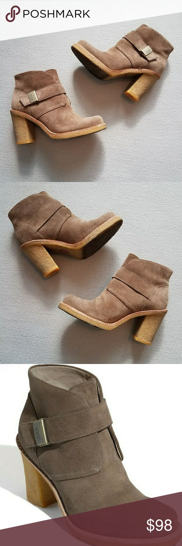 """Uggs Brienne Tan Suede Ankle Boots SZ 7.5 Great Condition, I only Wore these maybe 3 - 4X. Inside looks great  (clean), a few marks on the heels from my jeans. Bottoms are in good condition but dirty. I think it's  the """"gum"""" sole. Please see all pictures for Best description.   Purchased from Nordstrom UGG Shoes Ankle Boots & Booties"""