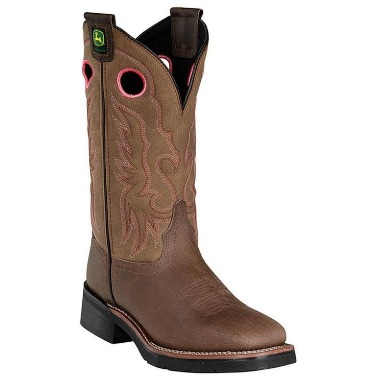 John Deere Womens Brown Leather Steel Toe Pull On Boots