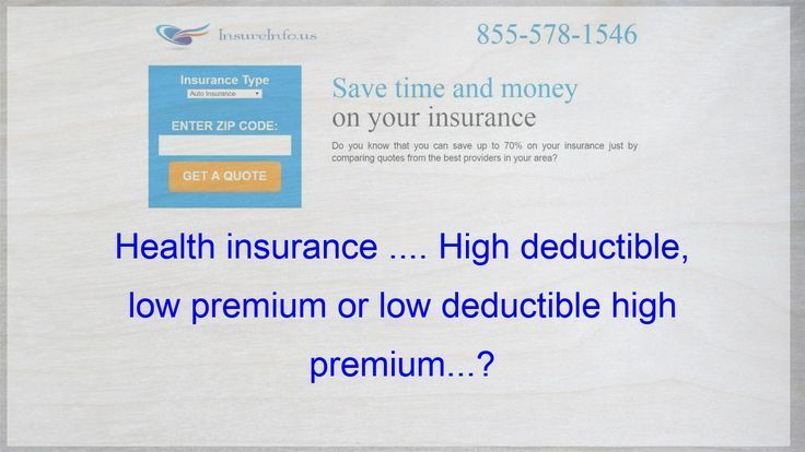 Health Insurance High Deductible Low Premium Or Low Excess