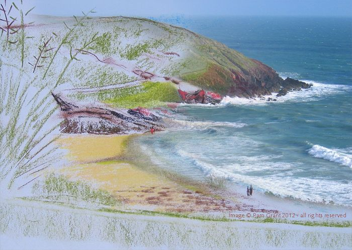 Blend of crayon illustration from my sketchbook and my photo of a beach in Pembrokeshire