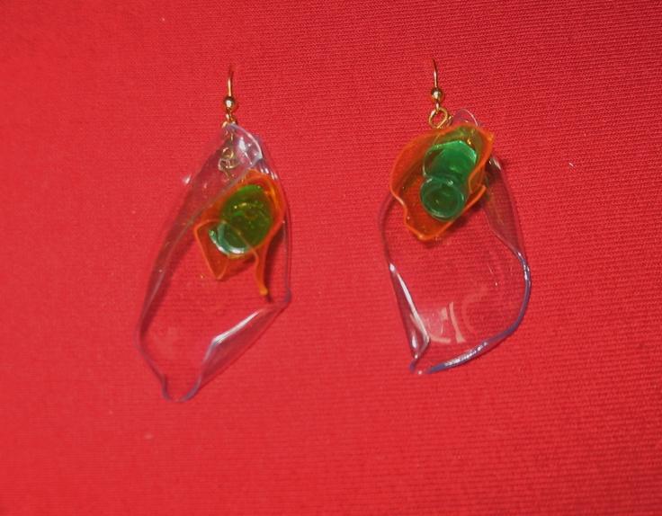 """""""Transparent callas""""  P.E.T.earrings lenght about 6 cm"""