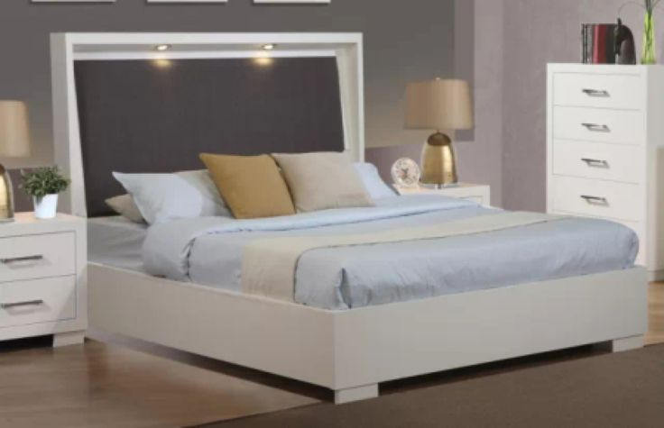 Stylish white queen platform bed with led headboard lights bedroom furniture link for London bedroom set with lighted headboard