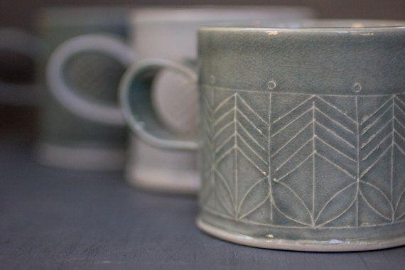 Ceramic mug Dark Blue stoneware Mug Minimalist by FreeFolding