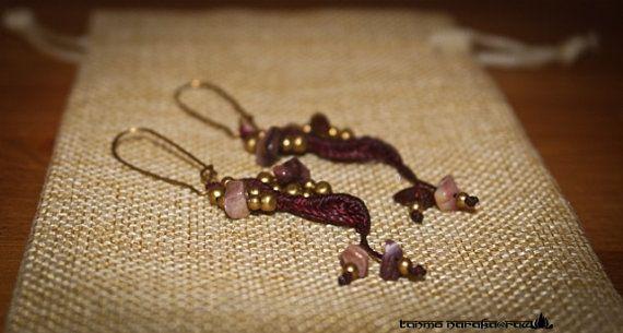 Ethnic Tribal Hippie Hipster Gypsy brass macramé Earrings Faerie Wicca Hipster Bohemian Jewellery earrings long dangle earrings