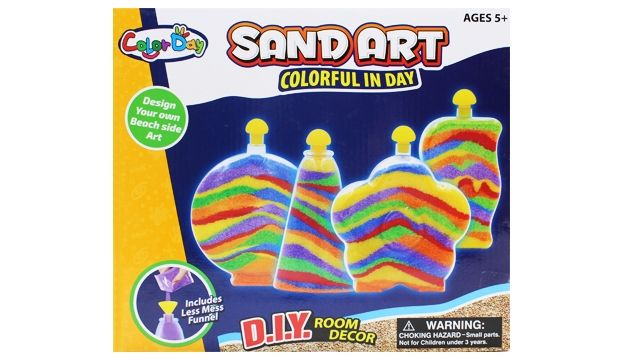 Glow Sand Art R40 Bring the beach to your home this summer with indoor play sand that glows in the dark! Let the kids get creative (with minimum mess) and create a new decoration piece for their room! It will keep them busy for a while! Includes: 2 Sand Art bottles with caps, 1 pendant bottle with cap, 1 glow sand (pink), 3 colours of sand, 1 Satin cord, 1 plastic funnel, 1 design tool, easy-to-follow instructions.
