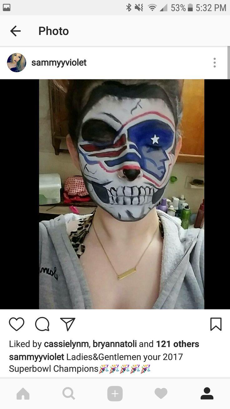 PATRIOTS SKULL   #makeup #specialfxmakeup #specialfx #skull #skeleton #skullmakeup #nfl #patriots #football #footballmakeup