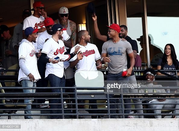 National Basketball Association Cleveland Cavaliers attend game two of the American League Championship Series between the Toronto Blue Jays and the Cleveland Indians at Progressive Field on October 15, 2016 in Cleveland, Ohio.