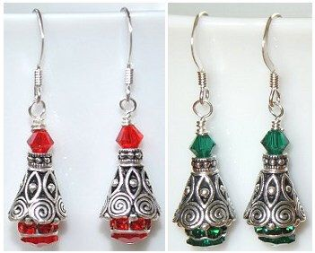 exquisite silver and swarovski siam red emerald green or clear cystal christmas tree earrings unique beaded jewelry making ideasjewelry - Jewelry Design Ideas