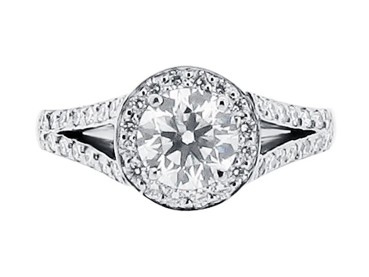 Round Halo Solitaire and Wedding Band - ER 1532