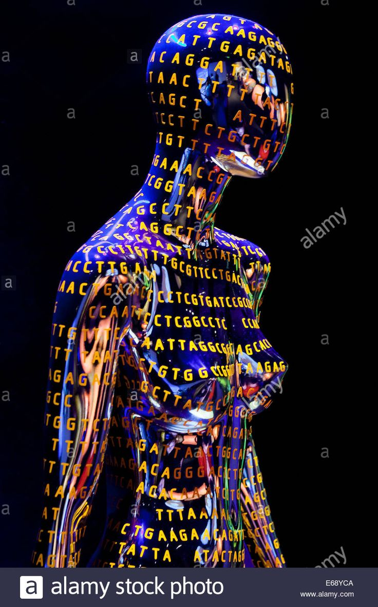Download this stock image: Female figure with DNA sequence illustrating Human Genome - USA - E68YCA from Alamy's library of millions of high resolution stock photos, illustrations and vectors.