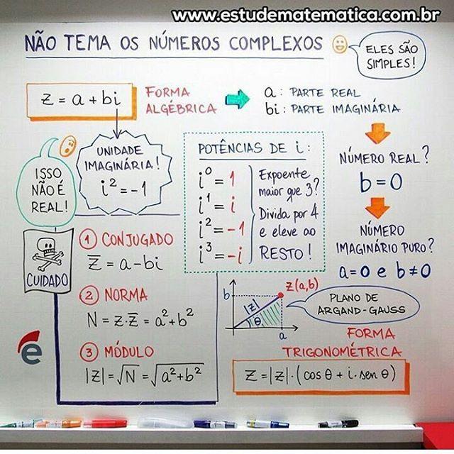 "317 Likes, 9 Comments - Matemática (@dicasmatematica) on Instagram: ""Dica super top do @estudematematica ! #Dicasmatemática #Complexo #Matemática #Enem #Enem2016…"""