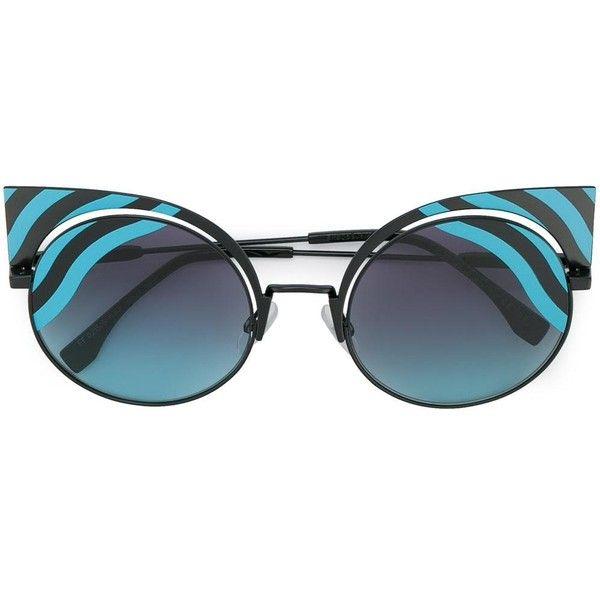 Fendi Eyewear Hypnoshine cat-eye sunglasses ($557) ❤ liked on Polyvore featuring accessories, eyewear, sunglasses, blue, metal cat eye glasses, fendi, cat-eye glasses, metal cat eye sunglasses and blue cat eye glasses