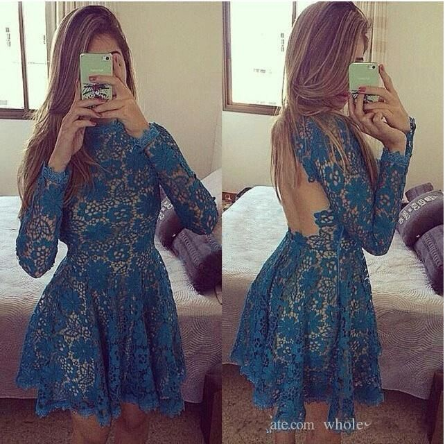 Dark Blue Lace Homecoming Dresses Short 2015 High Neck Long Sleeves Backless Short Party Dresses Custom Made Evening Gowns J821 Online with $129.85/Piece on Caradress's Store | DHgate.com