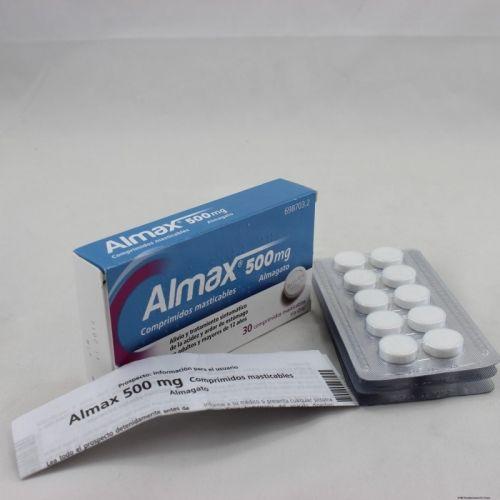 ANTIÀCIDS NOM: ALMAX Comp. masticable 500 mg   P.A.: Almagat  INDICACIÓ: Alivio y tto. sintomático de la acidez y ardor de estómago
