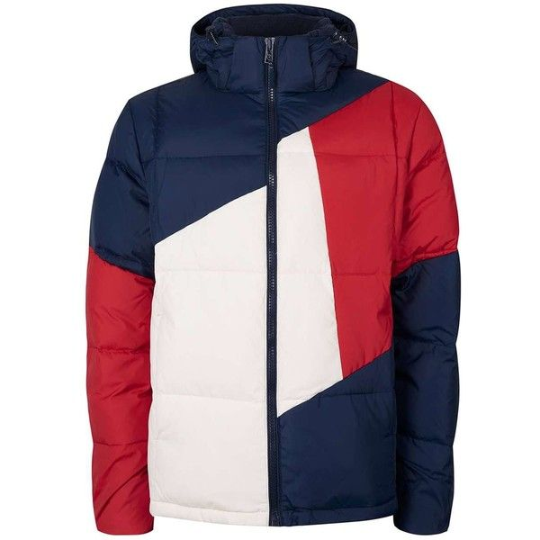 TOPMAN Tommy Hilfiger Padded Colour Block Jacket ($230) ❤ liked on Polyvore featuring men's fashion, men's clothing, men's outerwear, men's jackets, multi, mens sherpa lined jacket and mens padded jacket