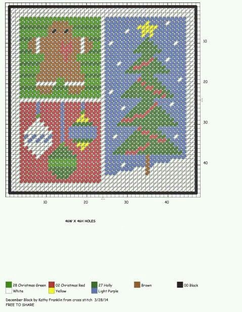 DECEMBER BLOCK by KATHY FRANKLIN (FROM CROSS STITCH)