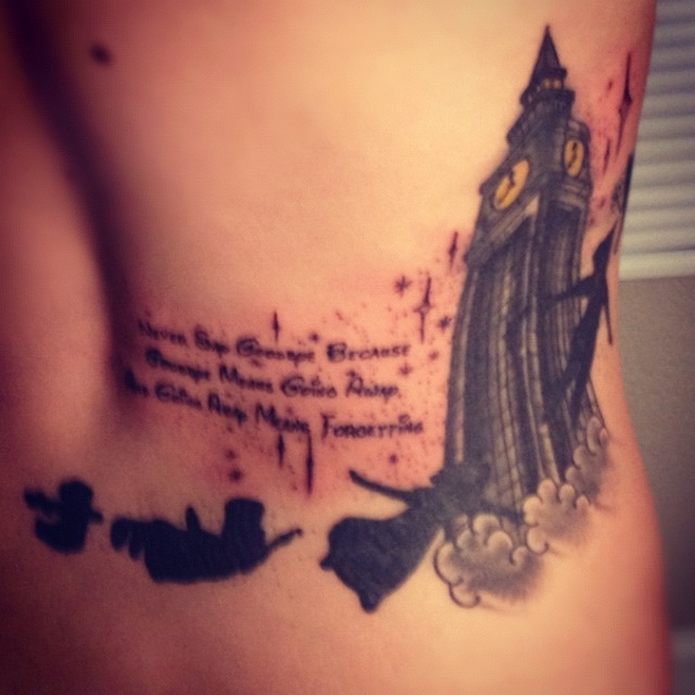 """Disney Peter Pan tattoo. """"Never say goodbye because goodbye means going away, and going away means forgetting."""""""