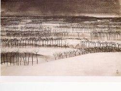 """右の作品は""""蒲原落雁""""。横山が生まれ育った西蒲原郡の光景である。雪の平原 に生えるのはハザキという樹。この樹〃が近景、中景、遠景に重層的に描かれて いる。目を近づけてみると、水平線ちかくの樹ほど墨の線は細かく丹念。遠くの空は 墨の滲みで表現され、日本海の雰囲気が漂っている。"""