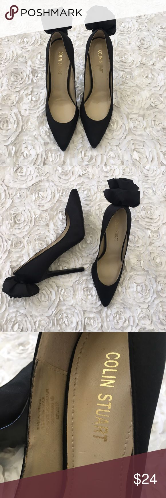 ✨NEW Colin Stuart Flower Satin Black Pump Heels Brand New Without Box Colin Stuart Black Satin Pumps with a Flower on the heel 👠💋 Super cute and sexy with any dress! Make me an offer :) Colin Stuart Shoes Heels