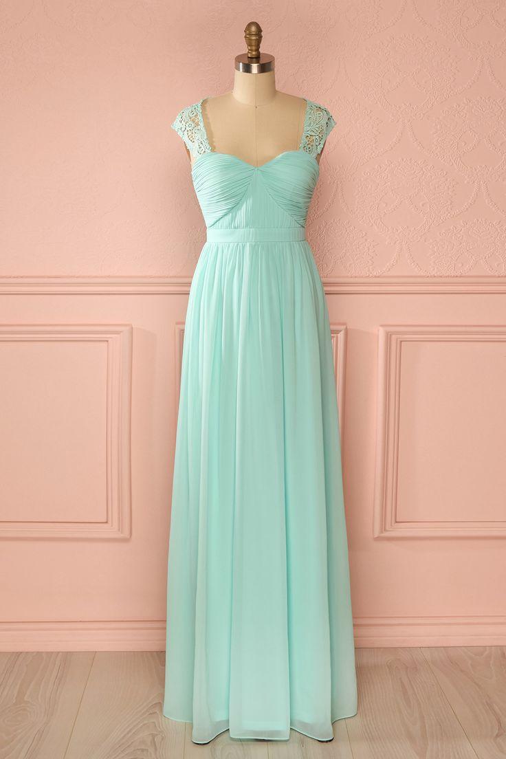 Robe longue voile dentelle menthe décolleté en coeur dos ouvert - Pastel green veil lace sweetheart neckline open-back long dress