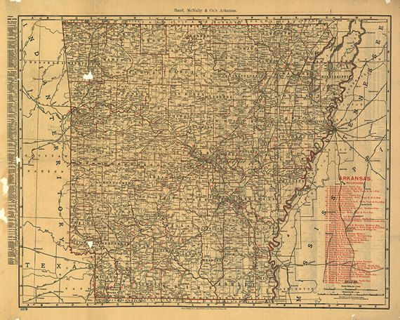 Map of Arkansas 1898. Restoration Hardware Home Deco Style