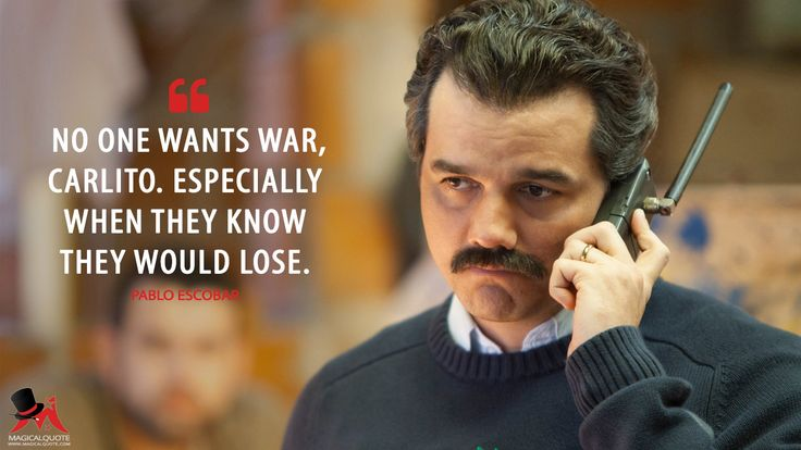 Pablo Escobar: No one wants war, Carlito. Especially when they know they would lose.  More on: http://www.magicalquote.com/series/narcos/  #PabloEscobar #Narcos @pabloescobar #narcosquotes #pabloescobarquotes @narcos