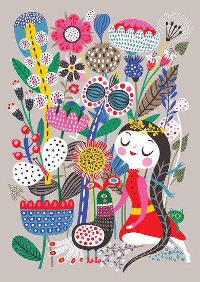 """Helen Dardik Poster """"Fiona in her Magic Garden"""". Etsy"""