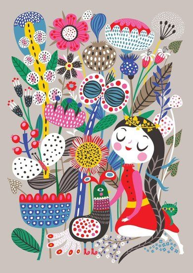 "Helen Dardik Poster ""Fiona in her Magic Garden"". Etsy"