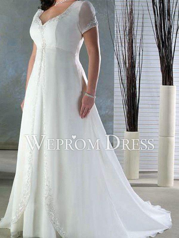 Casual Plus Size Embroidery|Pleated Court Train Short Sleeve V-neck Empire Plus Size Wedding Dresses -wepromdresses.com