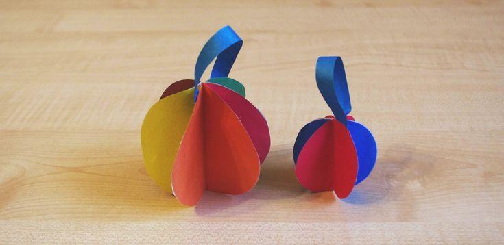 Бумажные шары на елку. Новогодний DIY. Поделки из цветной бумаги для детей своими руками.