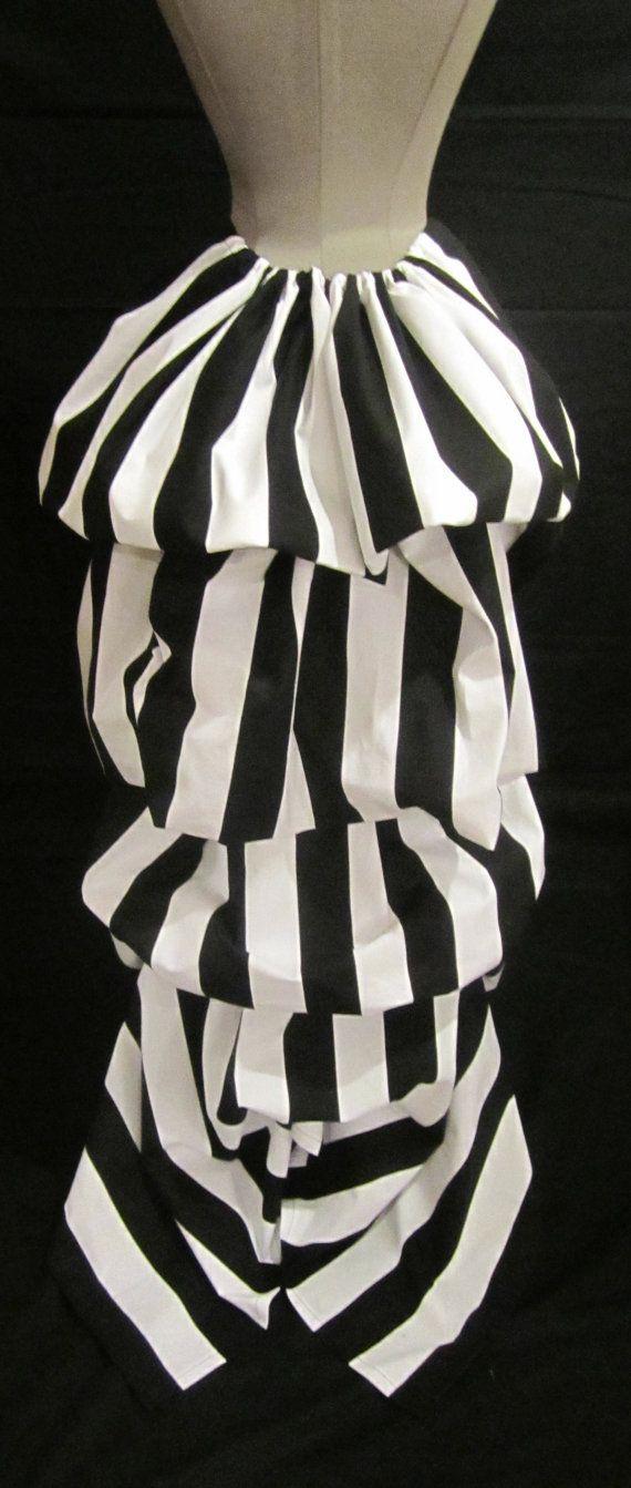 black white striped long bustle