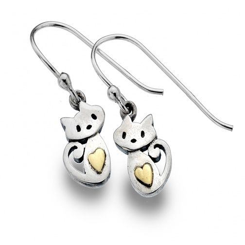 Sterling Silver Jewellery UK: Sterling Silver and Gold Sitting Cats And Heart Dangly Earrings